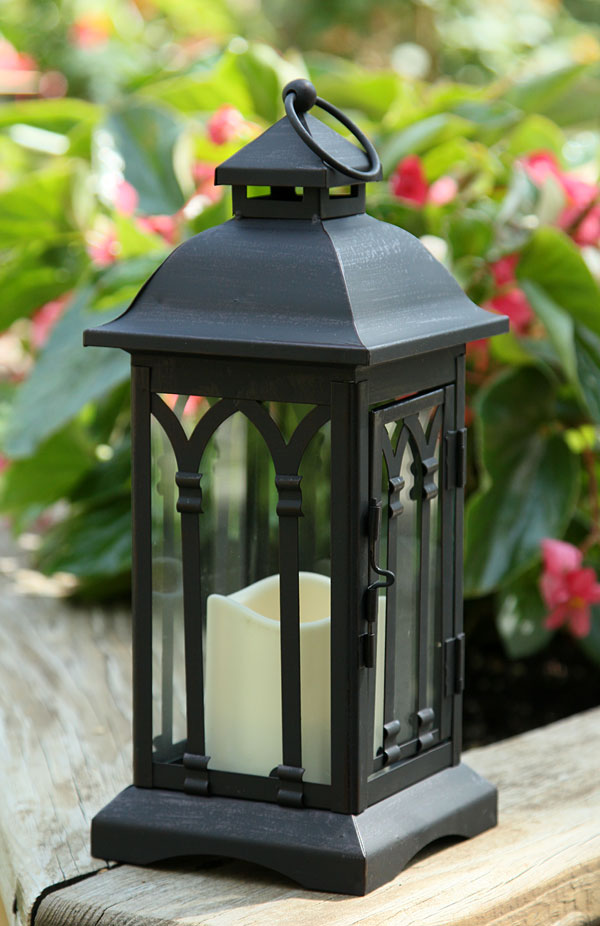 Battery Operated 12 Inch Black Metal Candle Lantern - 6 ...
