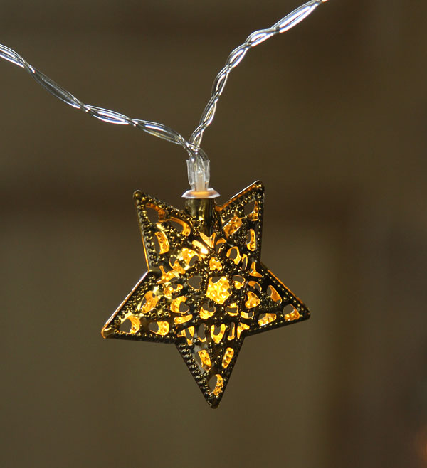 Battery Operated 10 Warm White Led Light Chain Gold Metal Filigree Star
