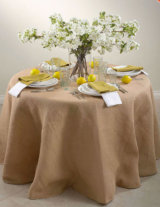 120 Inch Round Top Quality Burlap Lined Table Skirt   Passe Partout  Collection