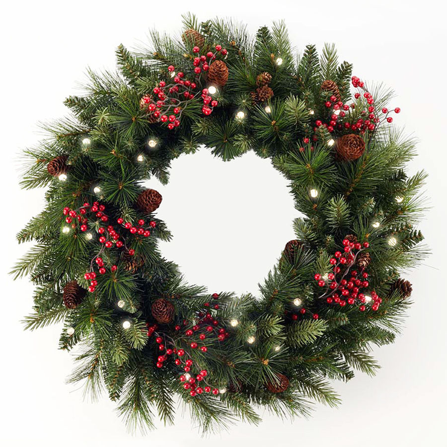 Outdoor Safe Pre Lit Cone Amp Berry Christmas Wreath