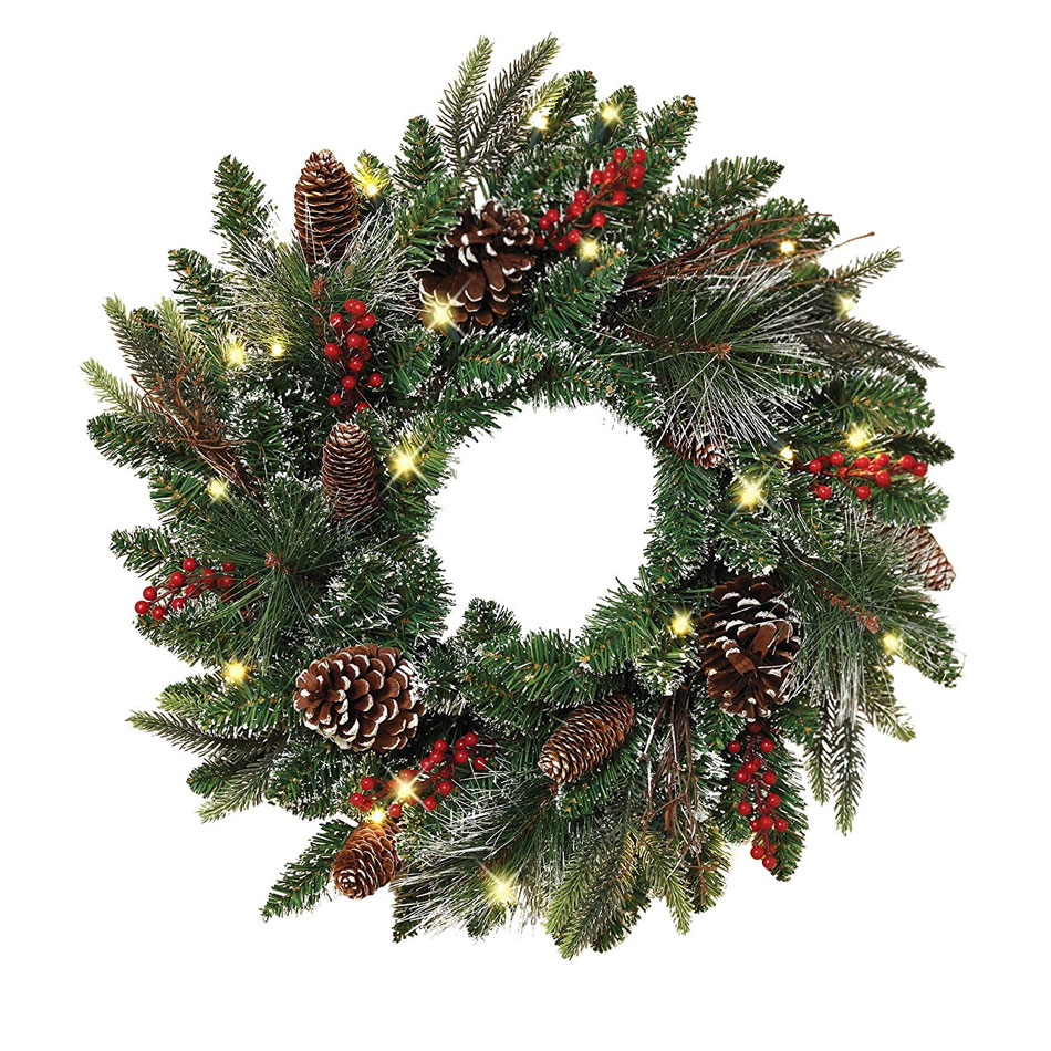 Outdoor Safe Battery Operated Lighted Wreath With Timer