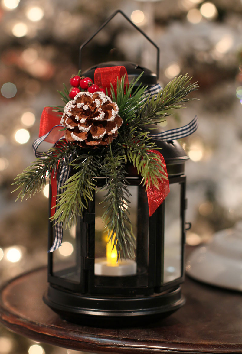 8 inch black metal christmas lantern with holiday decor for Home goods decorations