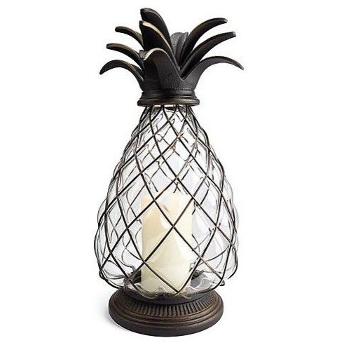 Battery Operated Metal And Glass Pineapple Candle Lantern