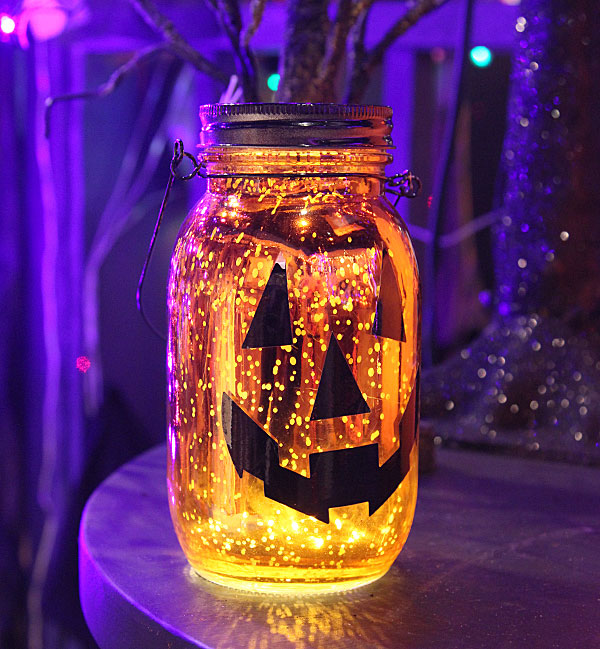 lighted mercury glass jack-o-lantern mason jar luminary - 7 inch