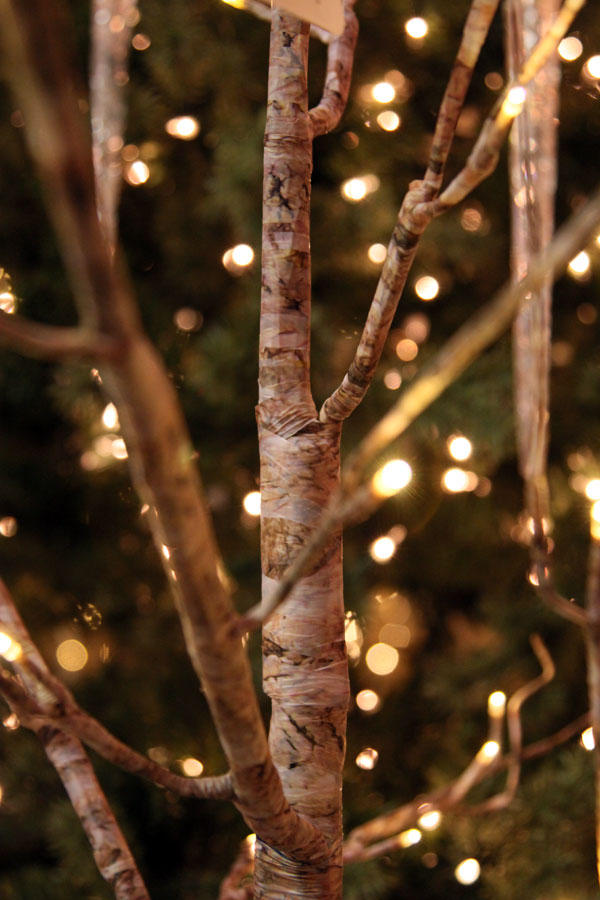 6 foot birch wrapped tree - 88 warm white led u0026 39 s