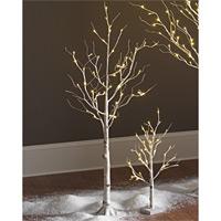 Lighted White Birch Tree 4 Foot   48 Warm White LEDu0027S Indoor   Outdoor