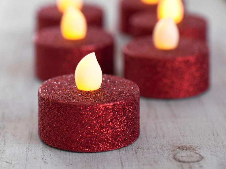 Red Glitter Christmas Tealights Flameless Set Of 4 Amber