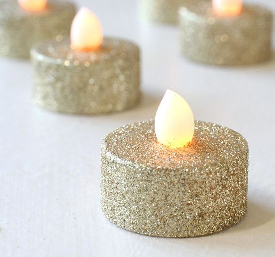 Gold Glitter Tealights Flameless Set Of 4 With Amber Flicker