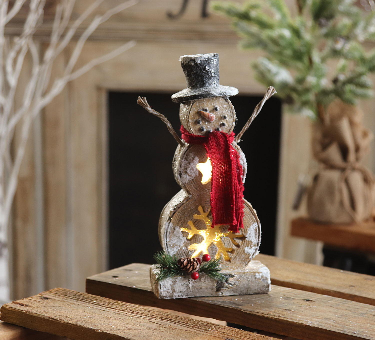 Battery Operated Lighted Resin Snowman 10 Inch Timer