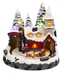 battery operated lighted musical animated winter holiday snow village santa and reindeer
