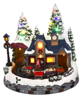 Battery Operated Lighted Musical Animated Winter Holiday Snow Village - Moving Train