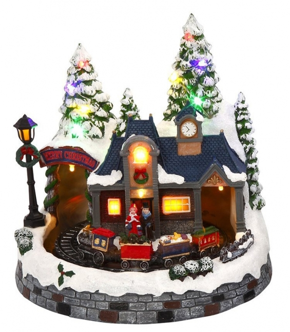 battery operated lighted musical animated winter holiday snow village moving train - Musical Animated Christmas Decorations