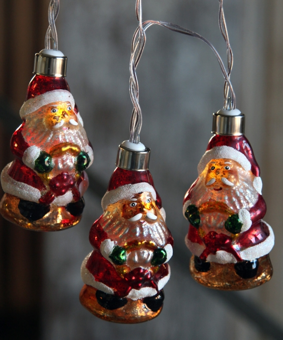 battery operated antique santa glass string lights 10 lights