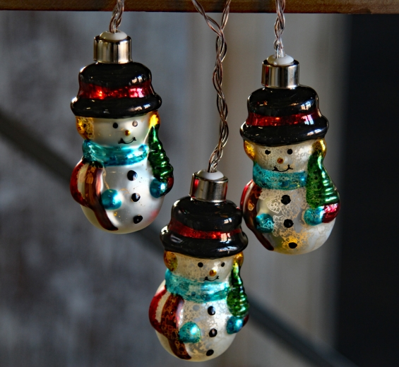 battery operated antique snowmen glass string lights 10 lights