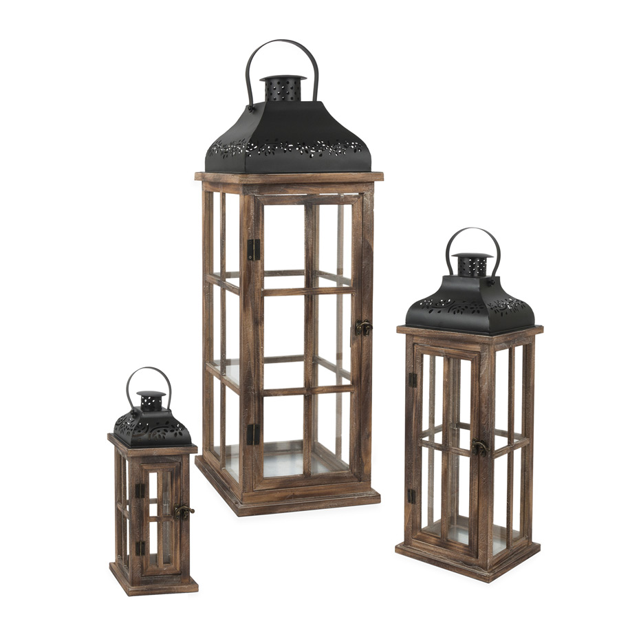 set of 3 antique wood lanterns with metal tops 12 5 20 and 28 inch buy now. Black Bedroom Furniture Sets. Home Design Ideas