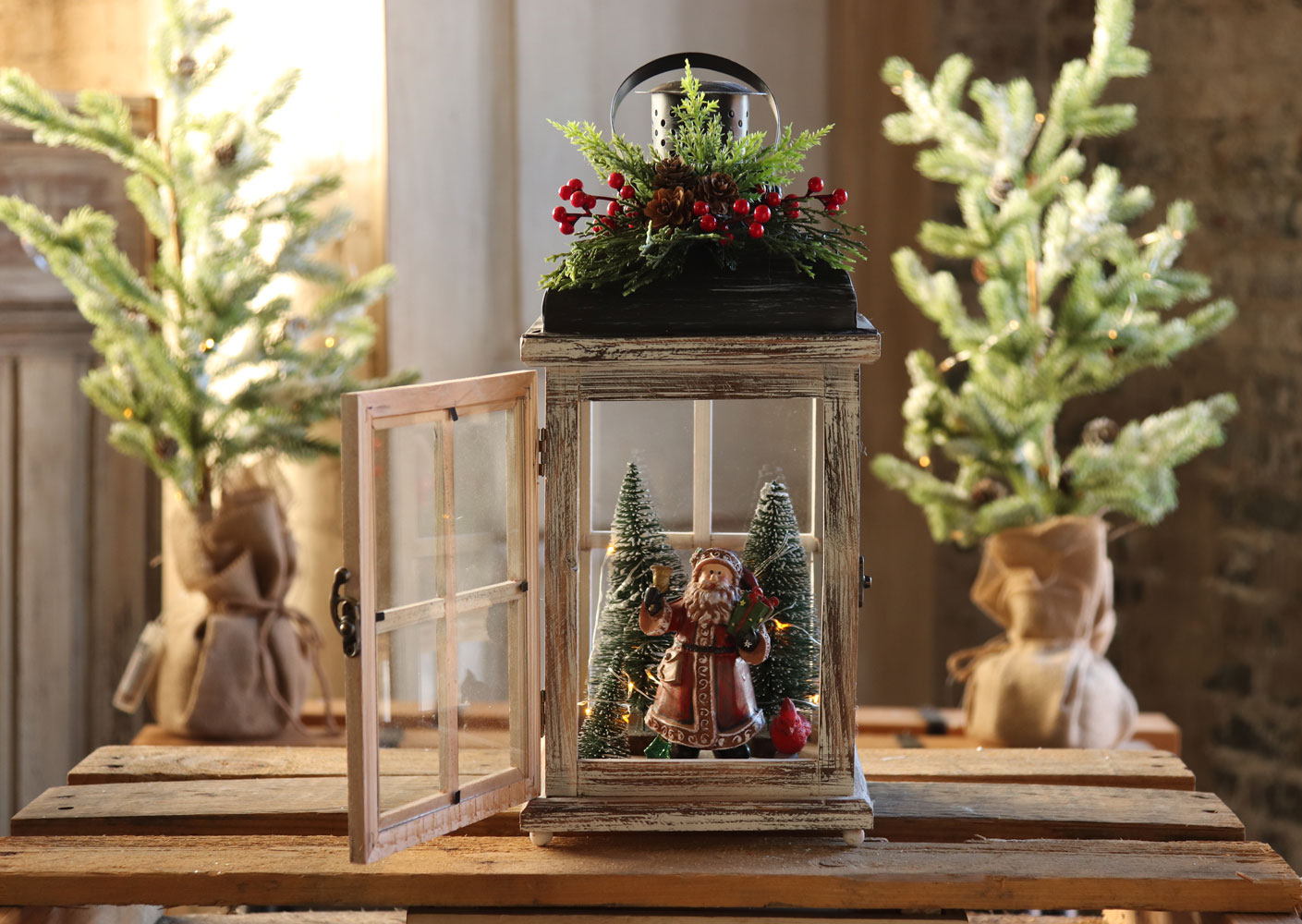 Battery Operated Lighted Wood Lantern Santa Clause