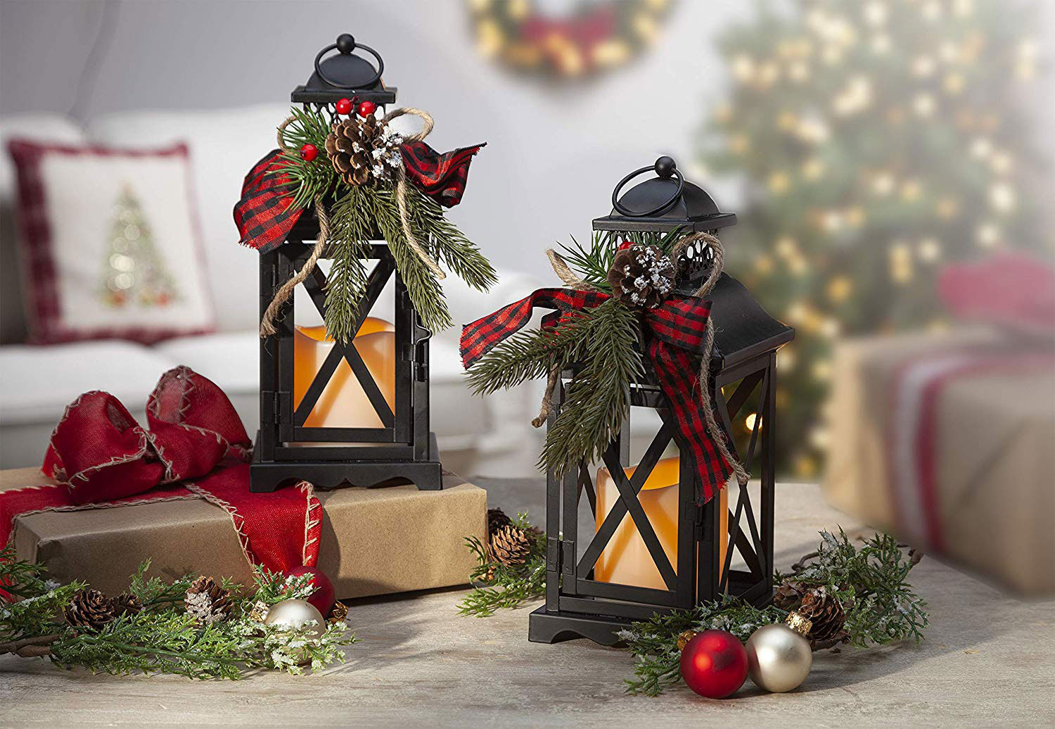 Christmas Lanterns.Set Of 2 Battery Operated Lighted Christmas Metal Holiday Lanterns With Floral Accents And Timer