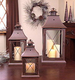 set of 3 brown candle lanterns 11 5 17 and 24 inch buy now. Black Bedroom Furniture Sets. Home Design Ideas