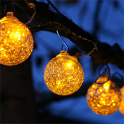 Allsop Aurora Glow Glass Solar String Lights with Amber LED - Set of 6 Globes - Buy Now