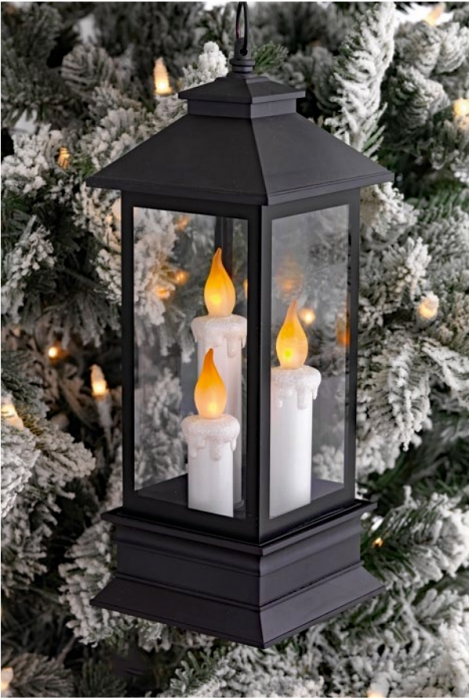 candle lantern ornament battery operated 125 inch from raz - Christmas Decorations Battery Operated Candles