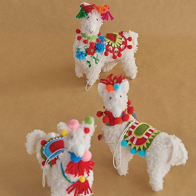 Raz 18 Colorful Bunny Easter Pillow: 7 Inch Colorful Llama Christmas Ornaments