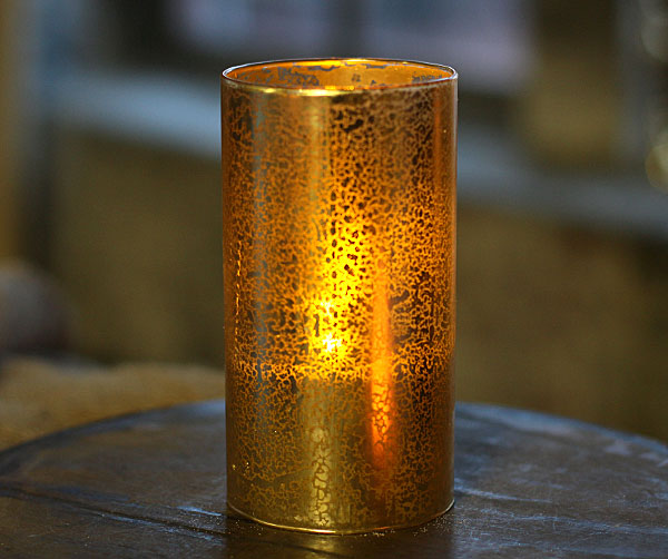 Flameless 6 inch pillar candle in gold decorative glass from raz