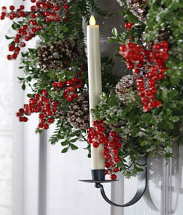 wreath hanger and taper candle holder 28 inch adjustable - Christmas Decorations Battery Operated Candles