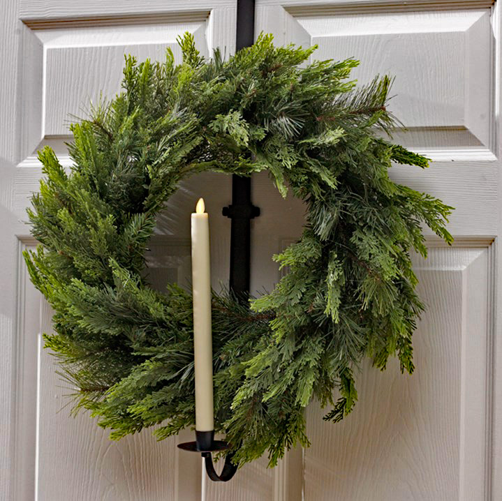 Wreath Hanger And Taper Candle Holder 28 Inch Adjustable
