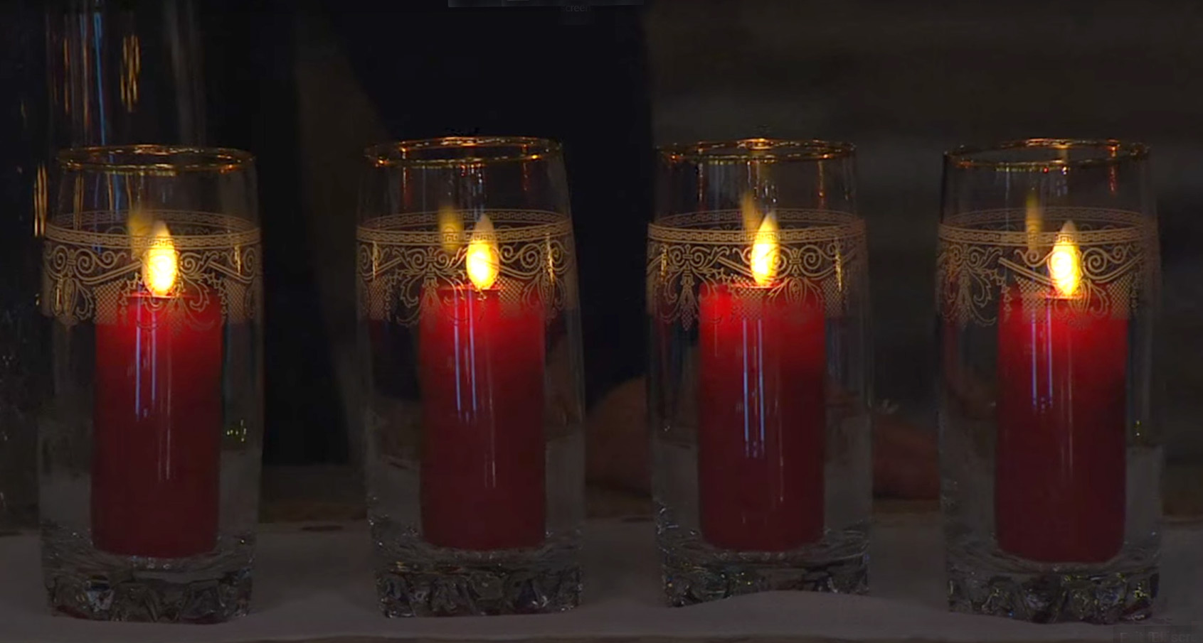 Red Wax 3 5 Inch Moving Flame Votive Candles Set Of 2
