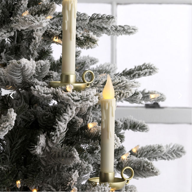 remote control clip on flickering taper candle antique gold 85 inch set of 2 - Remote Control Christmas Tree