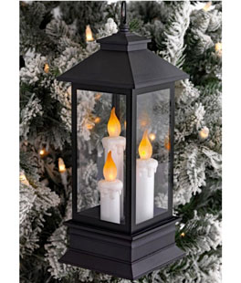 Three Candle Lighted Lantern 12.5 inch w 6 hr timer RAZ Christmas 3619082 NEW