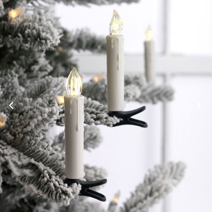 Remote Control 3 Inch Clip On Christmas Tree Taper Candle Battery ...