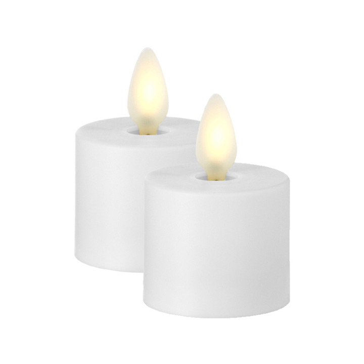 Liown Moving Flame White Tealights Set Of 2 With Timer
