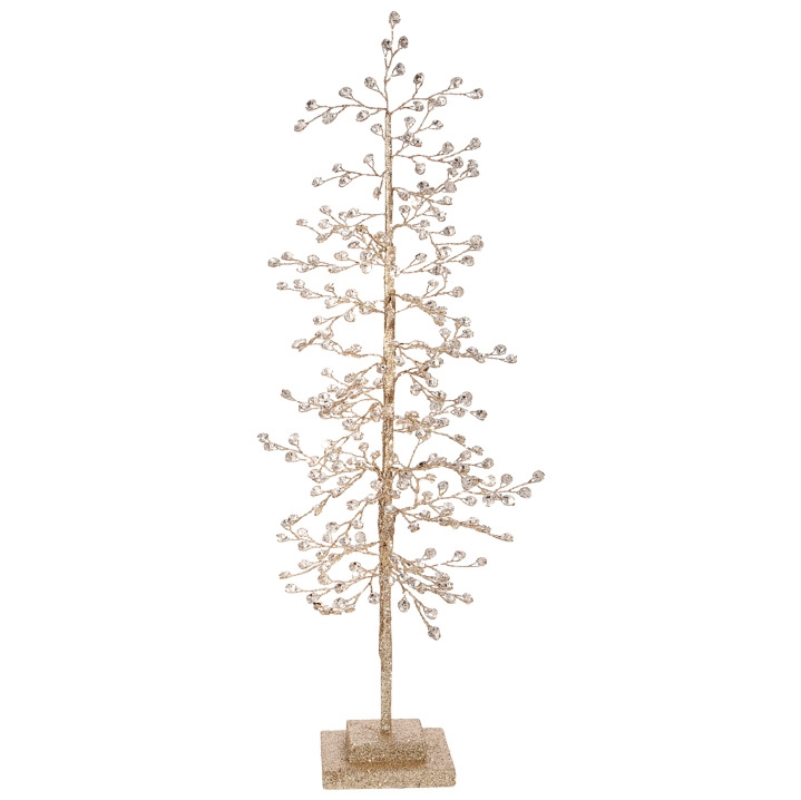 22 Inch Gold Glitter Tabletop Tree With Jewels Buy Now
