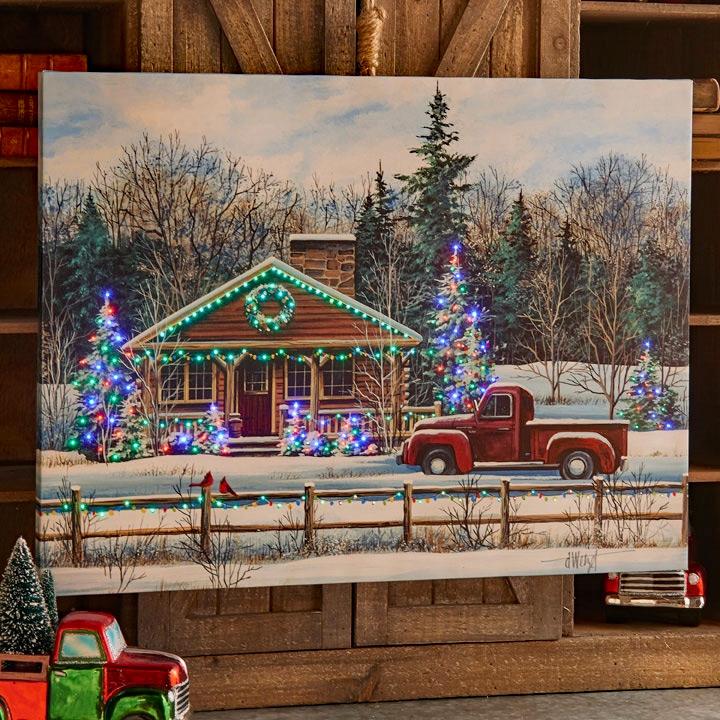 Raz 24 Inch Winter Scene Lighted Print Christmas Tree