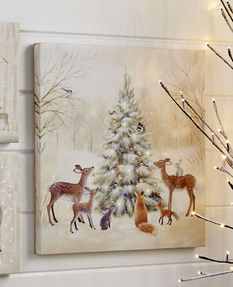 Raz 18 Inch Twinkling Led Lighted Woodland Animals Print