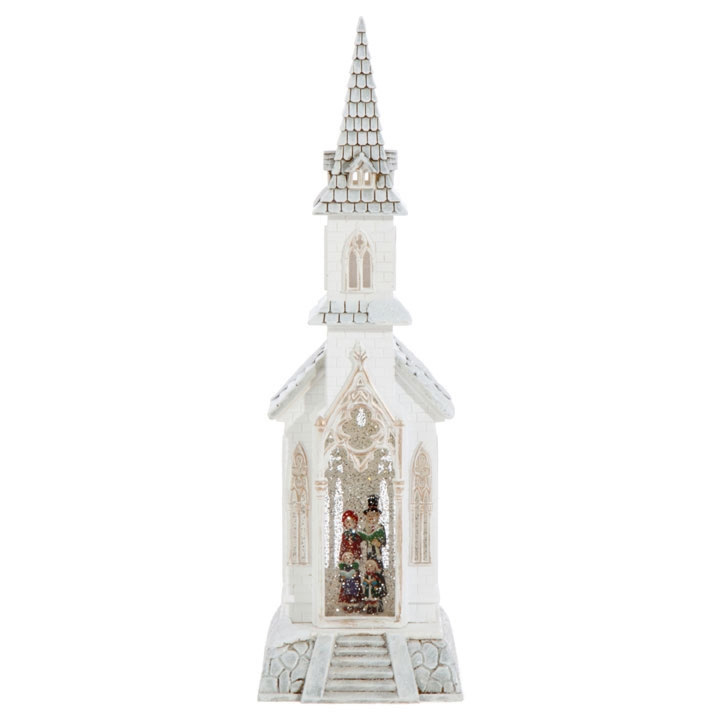 18 Inch Lighted Church With Carolers Glitter Water