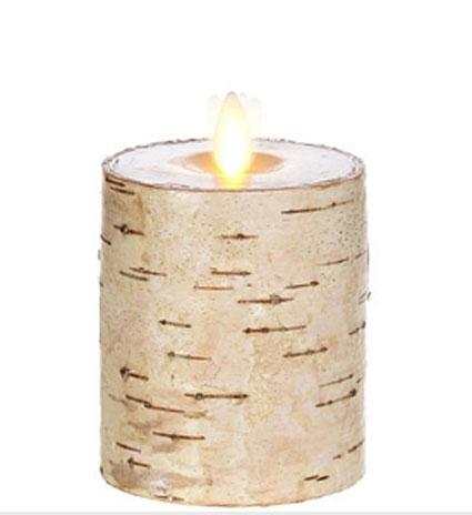 3 Inch Flat Top Birch Pillar Wax Wrapped Pillar Candle