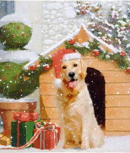 raz 18 inch twinkling led lighted golden retriever christmas scene print on canvas