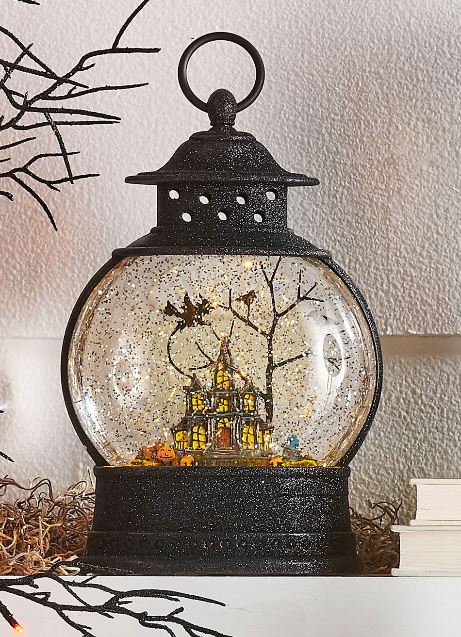 10 Inch Lighted Haunted House Water Lantern In Swirling