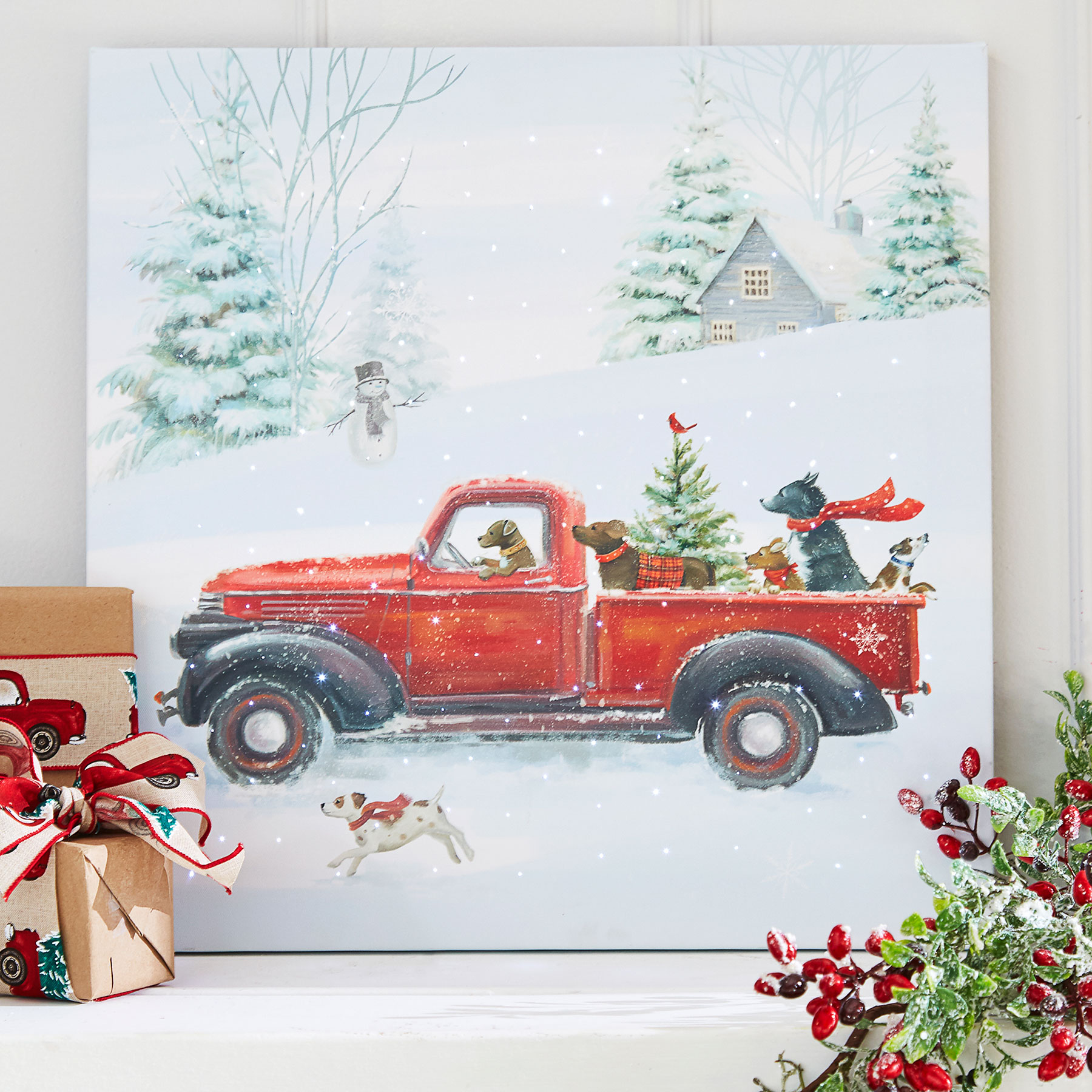 Old Truck With Christmas Tree.Lighted Dogs In Red Truck Lighted Print Battery Operated 20 Inch
