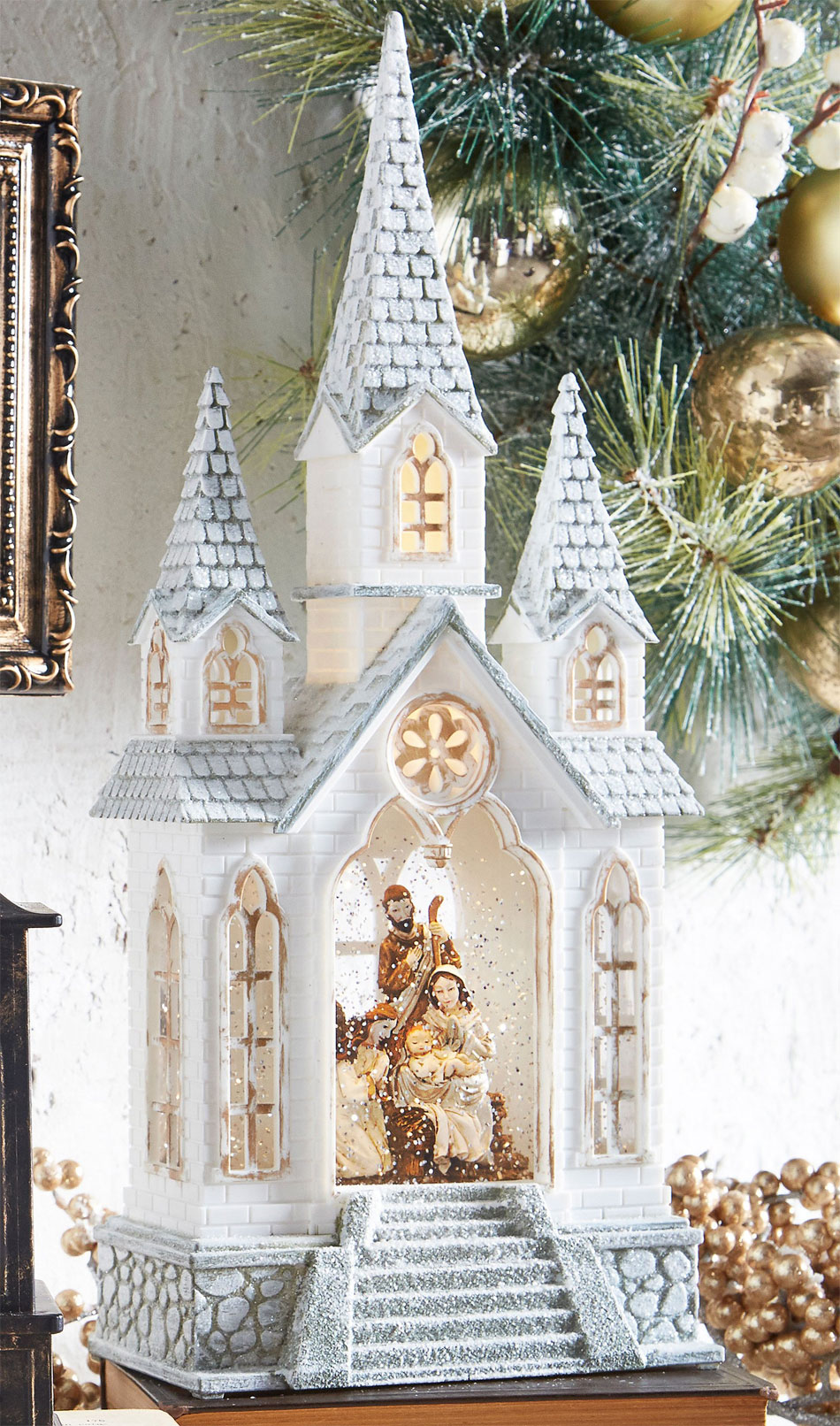Nativity Lighted Water Church In Swirling Glitter Snow