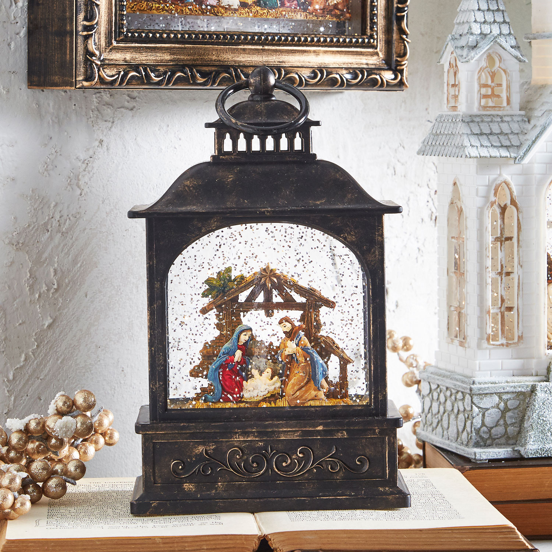 8 Inch Lighted Nativity Water Lantern In Swirling Glitter