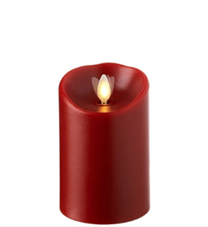 3 Inch Diameter Red Moving Flame 4 Inch Candle Remote Ready