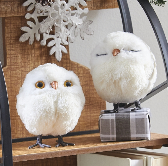 4 Inch White Owl Ornaments Set Of 2 Assorted From Raz