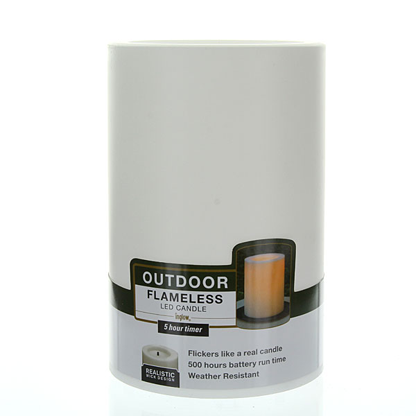 Outdoor Candle Impressions White Flameless Candle With