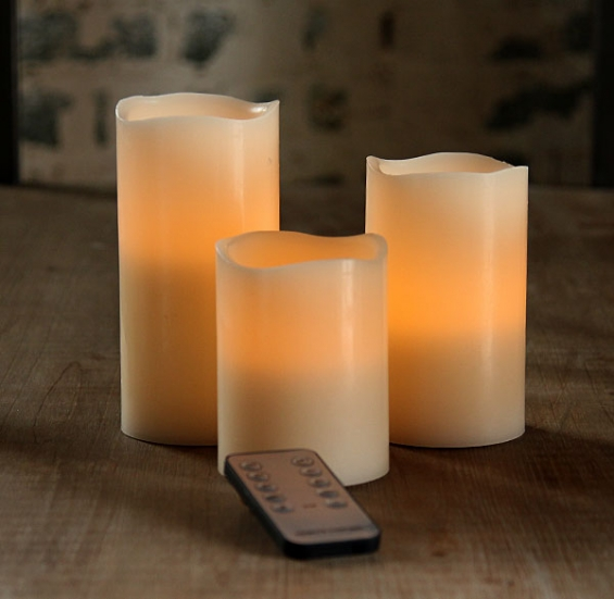 3 Piece 45 And 6 Inch Battery Operated Candles Universal Remote