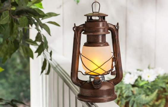 11 inch fireglow led hurricane lantern rustic brown