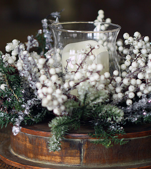 Hurricane candle holder iced pine with white berries