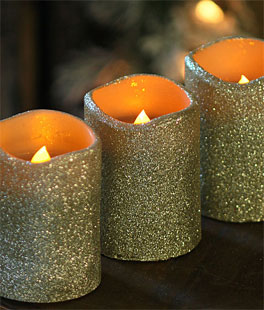 4 Inch Champagne Glitter Flameless Candles Set Of 3 Unscented Dual Timer